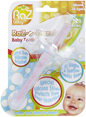 RaZbaby RaZ-a-Dazzle Silicone Baby Toothbrush- Girl - Pink