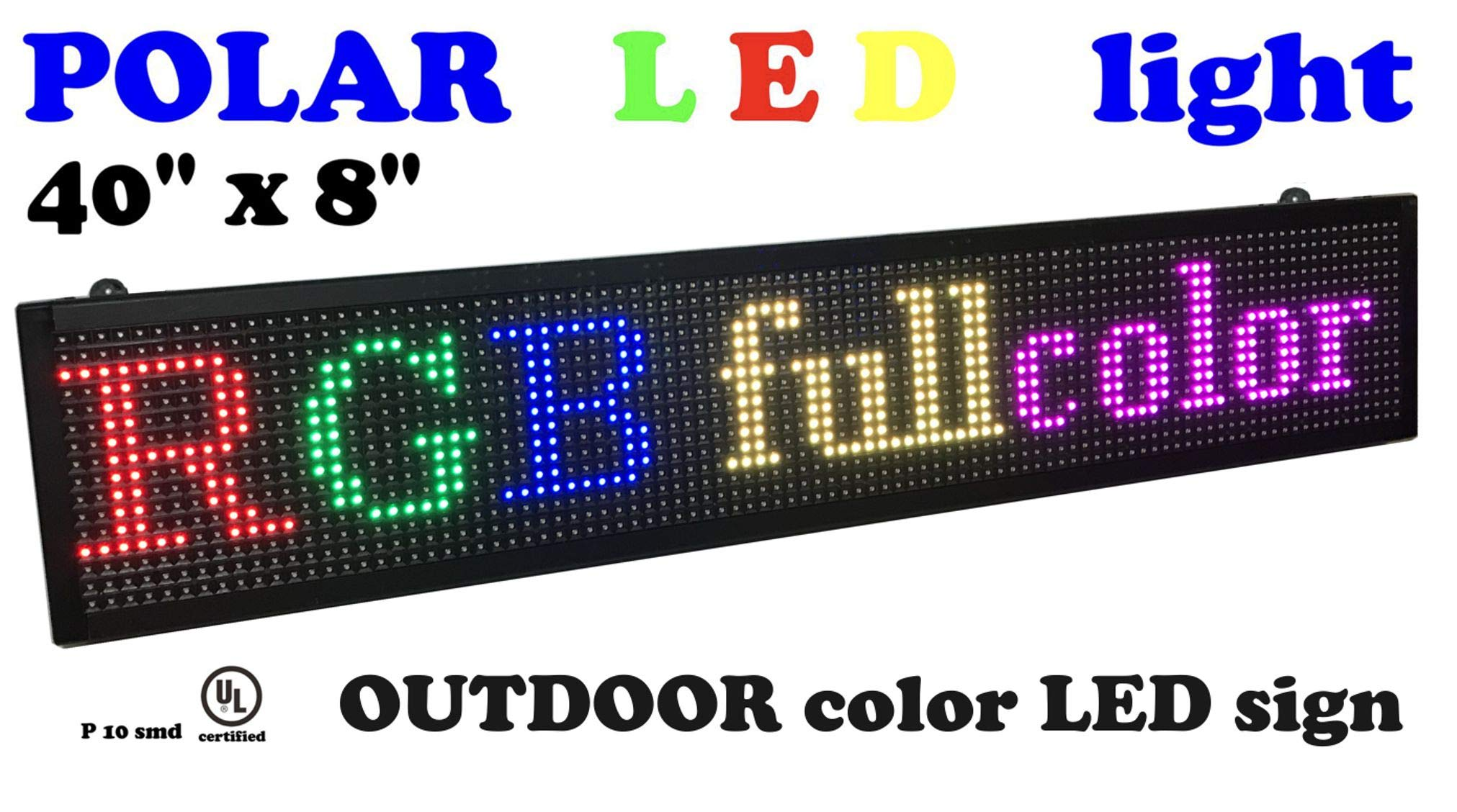 Outdoor LED Sign with SMD Technology RGB Color Size 40'' x 8'' Resolution P10 Perfect Solution for Advertising