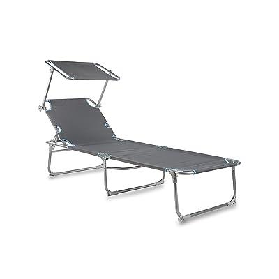 Campart Chaise longue pliable Travel BE-0626 – Pare-soleil – Gris