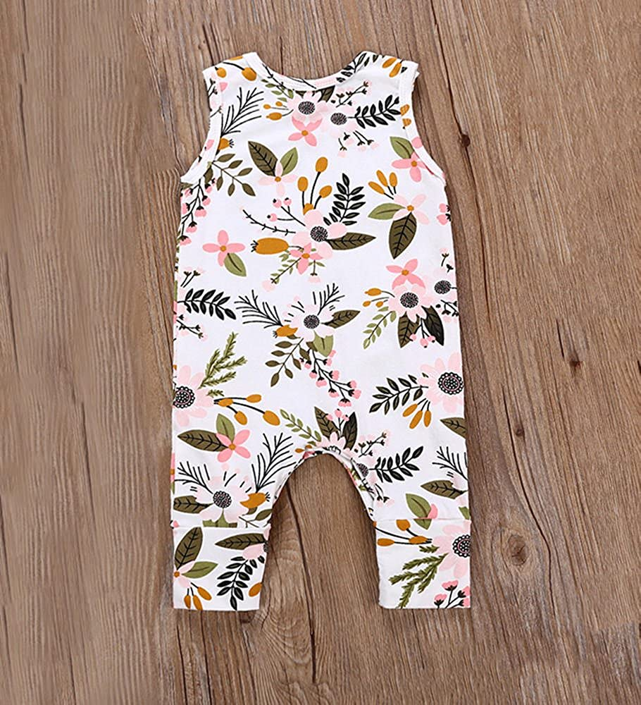 Babywow Infant Girls Floral Folk Style Tank Bodysuit Toddler Baby Sleeveless Jumpsuit Outfits