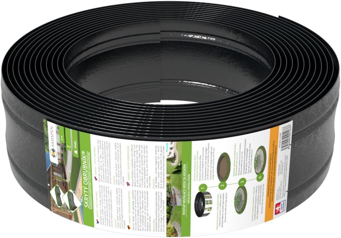 AMISPOL® Flexible Borde de Jardín, Bordillo Escondido 125/4 mm, Longitud 12 m