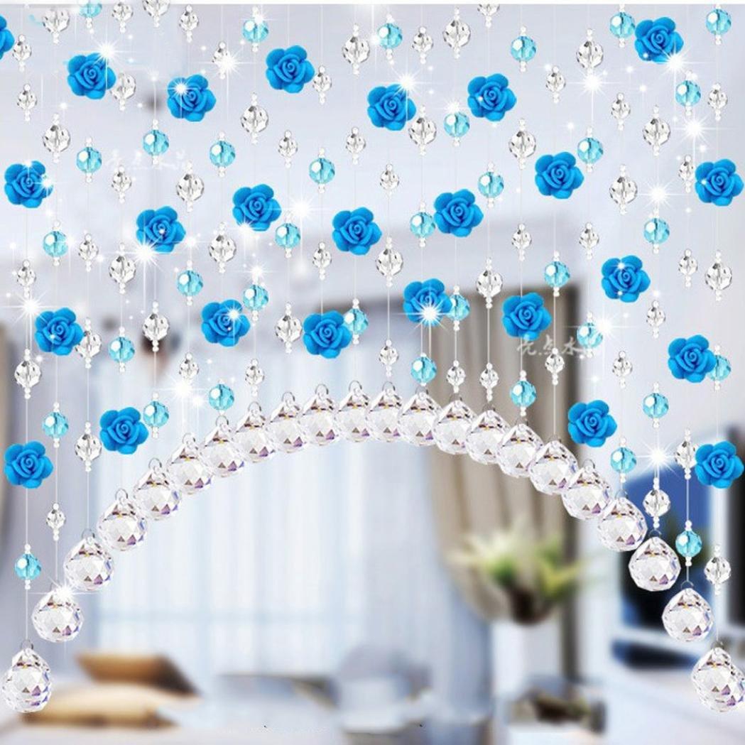 Coohole Crystal Glass Rose Bead Curtain Living Room Bedroom Window Door Wedding Home Decor (A, With Pendants)