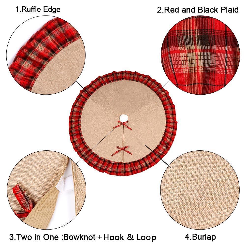 Linen Christmas Tree Skirt: OurWarm Linen Burlap Christmas Tree Skirt Red Black Plaid