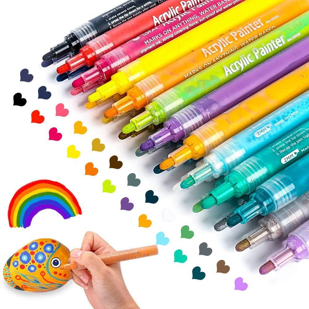 Bolígrafos de pintura acrílica para rocas, cerámica, vidrio.
