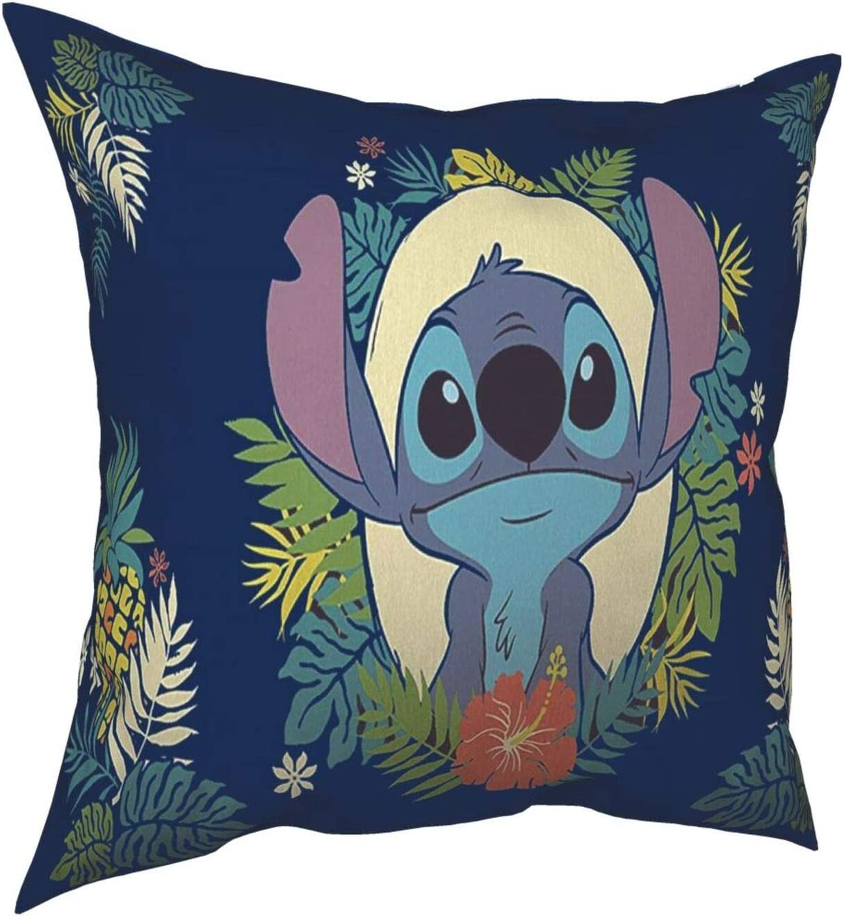 Lilo & Stitch Hawaii Garden Throw Pillow Covers 18 X 18 Inch Decorative Cushion Case Square Soft for Sofa Bed Couch Home(Only Cover No Insert)