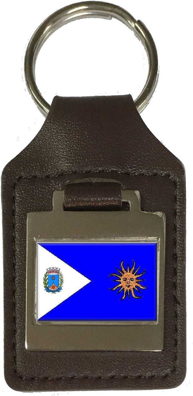 Leather Keyring Engraved Araraquara City Sao Paulo State Flag