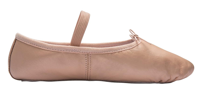 DWS Ballet Slippers 1003 Leather Ballerina Women`s Dance Shoes Girls Beginners Ballet Shoes Gymnastics Training Dance Class Half Point Medium Width Full Suede Sole pink