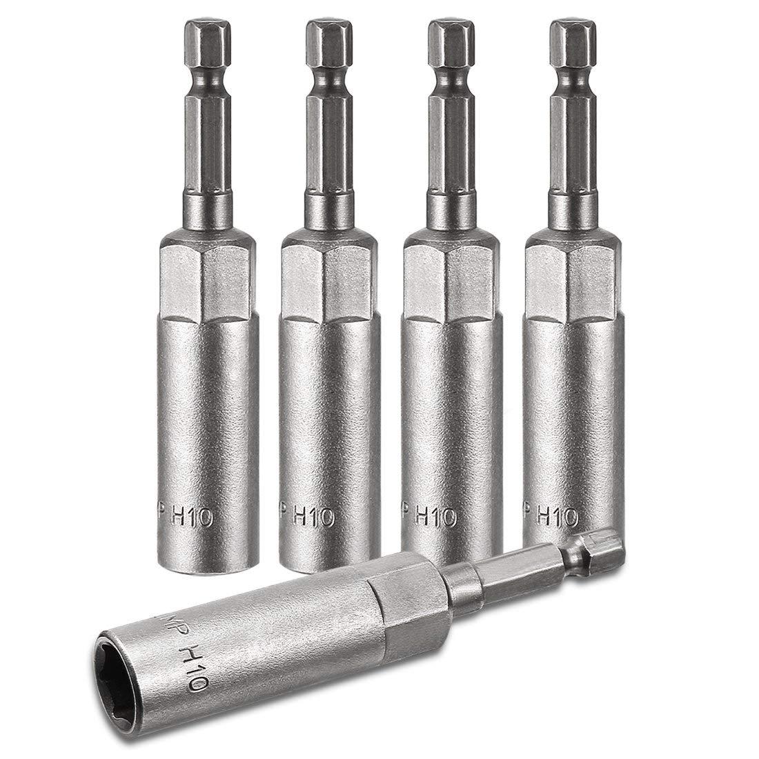 ZCHXD 5Pcs 1/4 Inch Quick Change Shank Cr-V 10mm Hex Nut Driver, 3 Inch Length