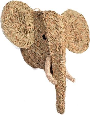 Jarapa Home Figura Decorativa de Esparto - Cabeza de Elefante Trenzada a Mano, Hecha en España. Decoración Estilo Boho Chic, Natural o rústico (MOD1-40x35x20 cm): Amazon.es: Hogar