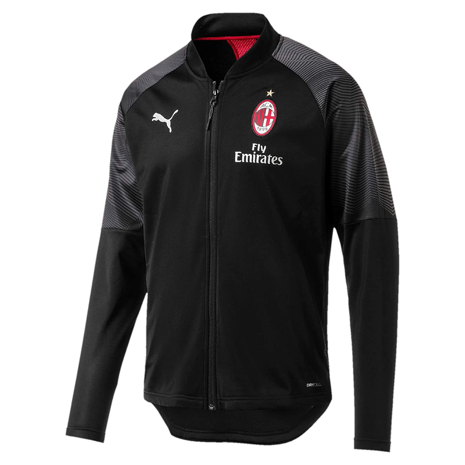 Puma Herren Ac Milan Stadium Poly Jacket Sponsor Logo with Zipped P Trainingsjacke