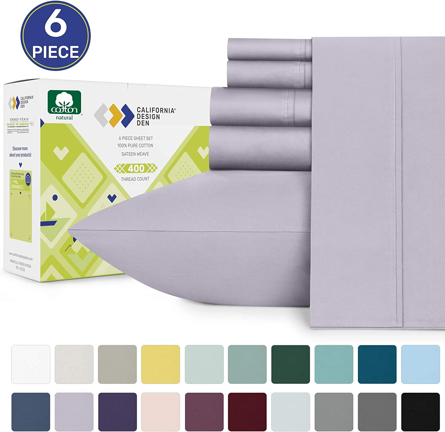 Lavender Queen Sateen Bed Sheets - 100% Pure Cotton 400 Thread Count, Solid Color 6 Piece Soft Sheet Set, Comfortable Wrinkle Resistant Bedding, Deep Pocket Fits Mattress 16 Inches: Home & Kitchen