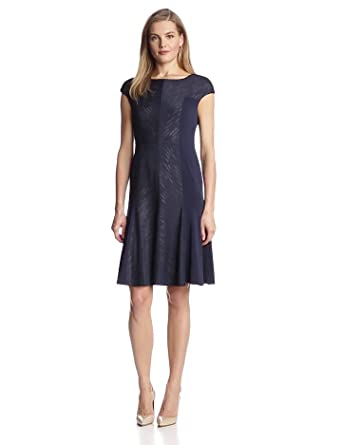 Anne Klein Women S Sand Dune Jersey Fit And Flare Dress