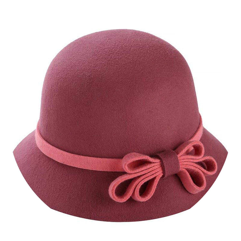 100/% Wool Fedora Felt Hats Cr Big Bow Kentucky Derby Hat Vintage Winter ies