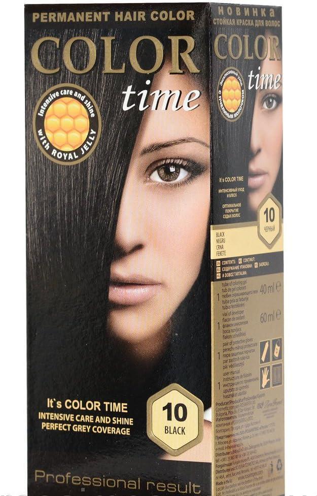 Color time, tinte permanente para el cabello de color negro 10