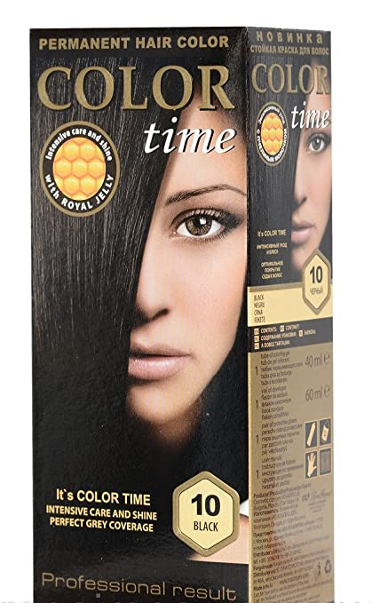 Color time, tinte permanente para el cabello de color negro 10