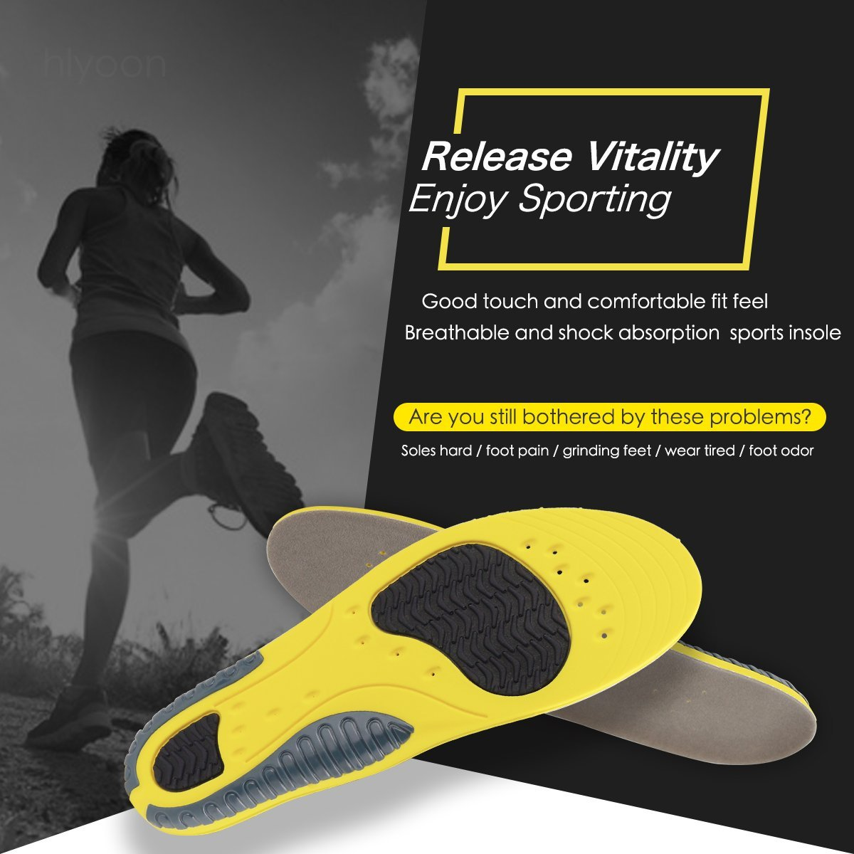 HLYOON Sport Trainer Athletic Cushioning Arch Support Shoe Insoles Excellent Shock Absorption for Arch Support,Gray flocking cloth and PU+TPU, High elasticity and Quick-drying (UK Woman\'s (3-8))