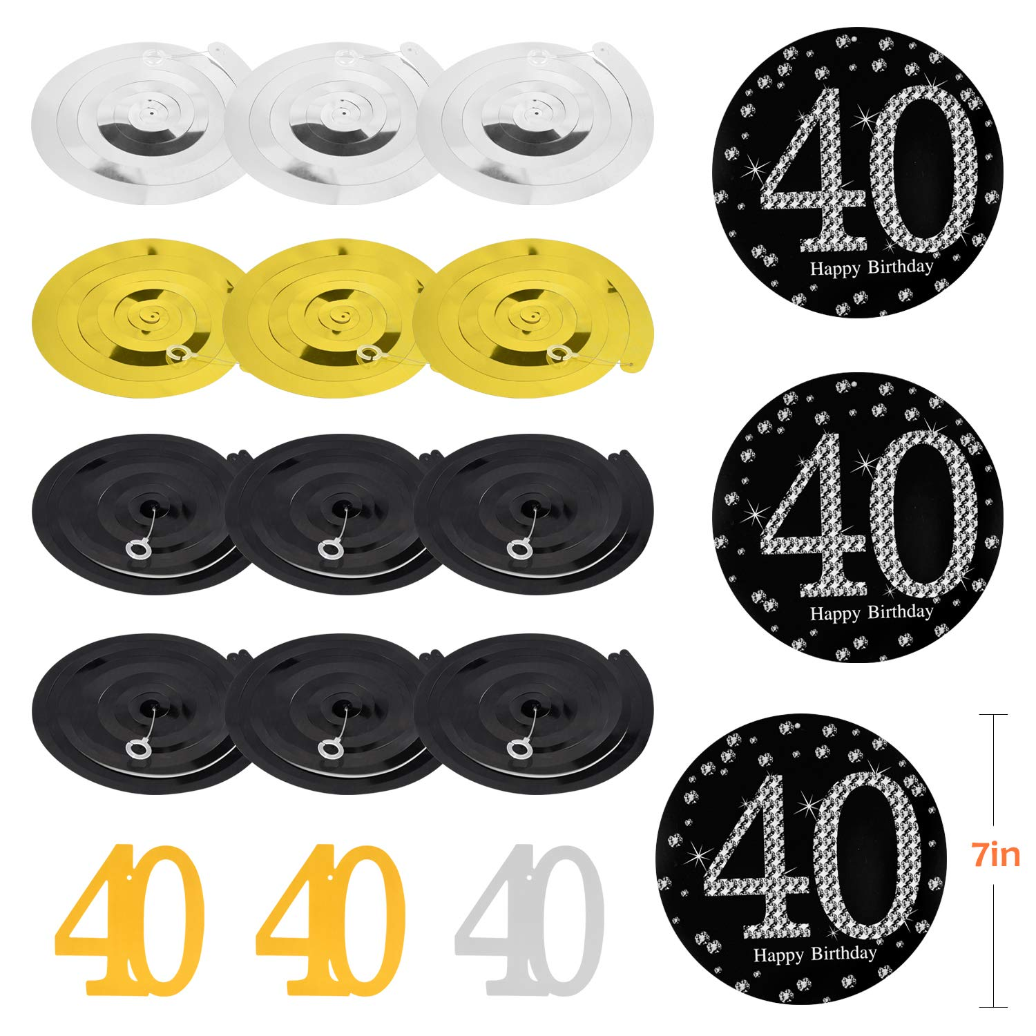 ZukoCert 40th Birthday Decorations Kit Gold Glittery Cheers to 40 Years Banner,6 Pcs Paper Pom Poms,20 Pcs Balloons,12 Pcs Sparkling Hanging Swirl Celebrate for 40th Anniversary Decorations Party Supplies