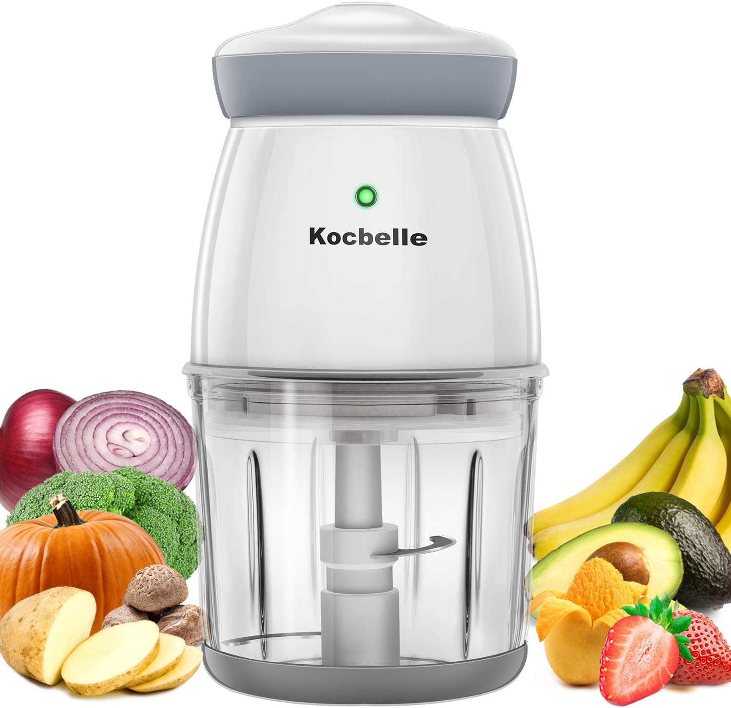 Wireless Mini Food Processor,Vegetable Chopper Glass Bowl 2.5 Cup 200 Watt Fast Speed Meat Grinder with Sharp Blade and plastic stirring stick for Meat,Vegetables, Fruits