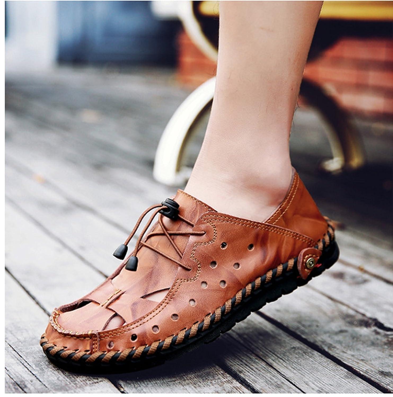 LXIE Pakamo Männer Männer Männer Sandalen aus echtem Leder Rindsleder männlichen Sommer Wasser Schuhe Outdoor Strand Fischer Hausschuhe Closed-Toe Sandalen Männer, EU 42  f5f46d