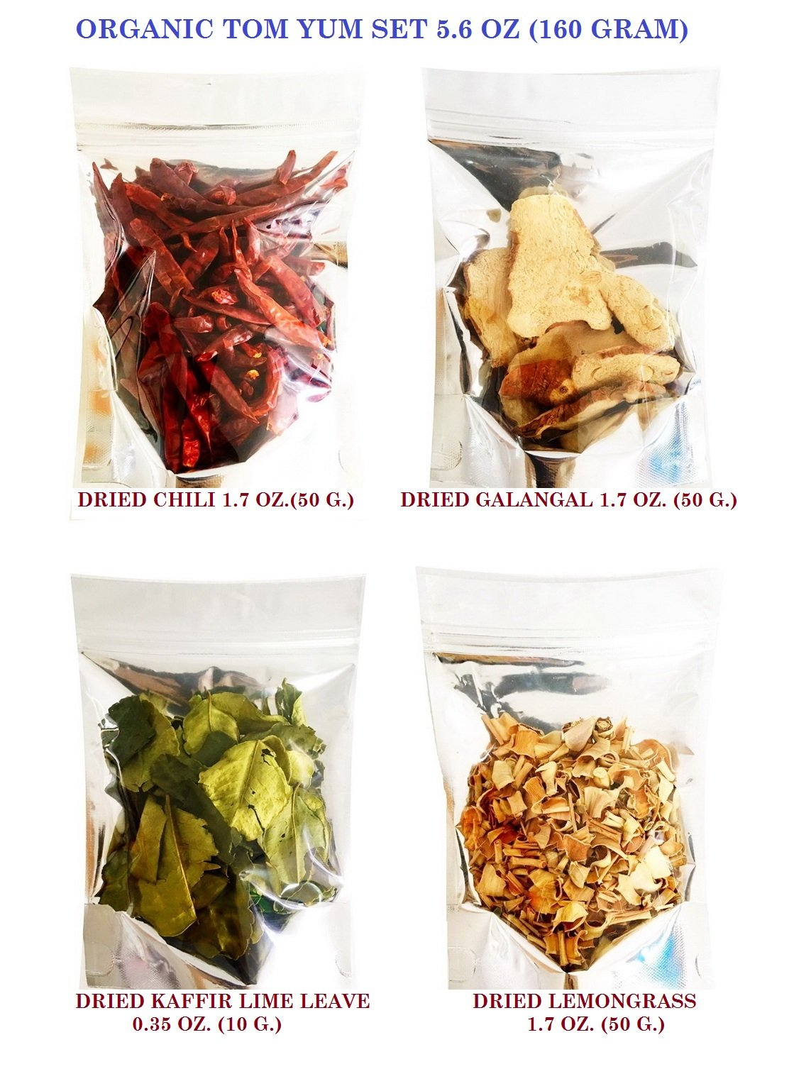 SPICY SERVED Organic Tom Yum Set Thai Food Hot & Spicy Soup 160 g. for Dried Chilli 50 g./Dried Galangal 50 g./Dried Lemongrass 50 g.and Dried Kaaffir Lime Leave 10 g.