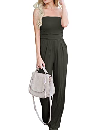8e3d0d24f27e Amazon.com  Imysty Womens Sleeveless Strapless Jumpsuits Wide Leg Rompers  with Pockets  Clothing