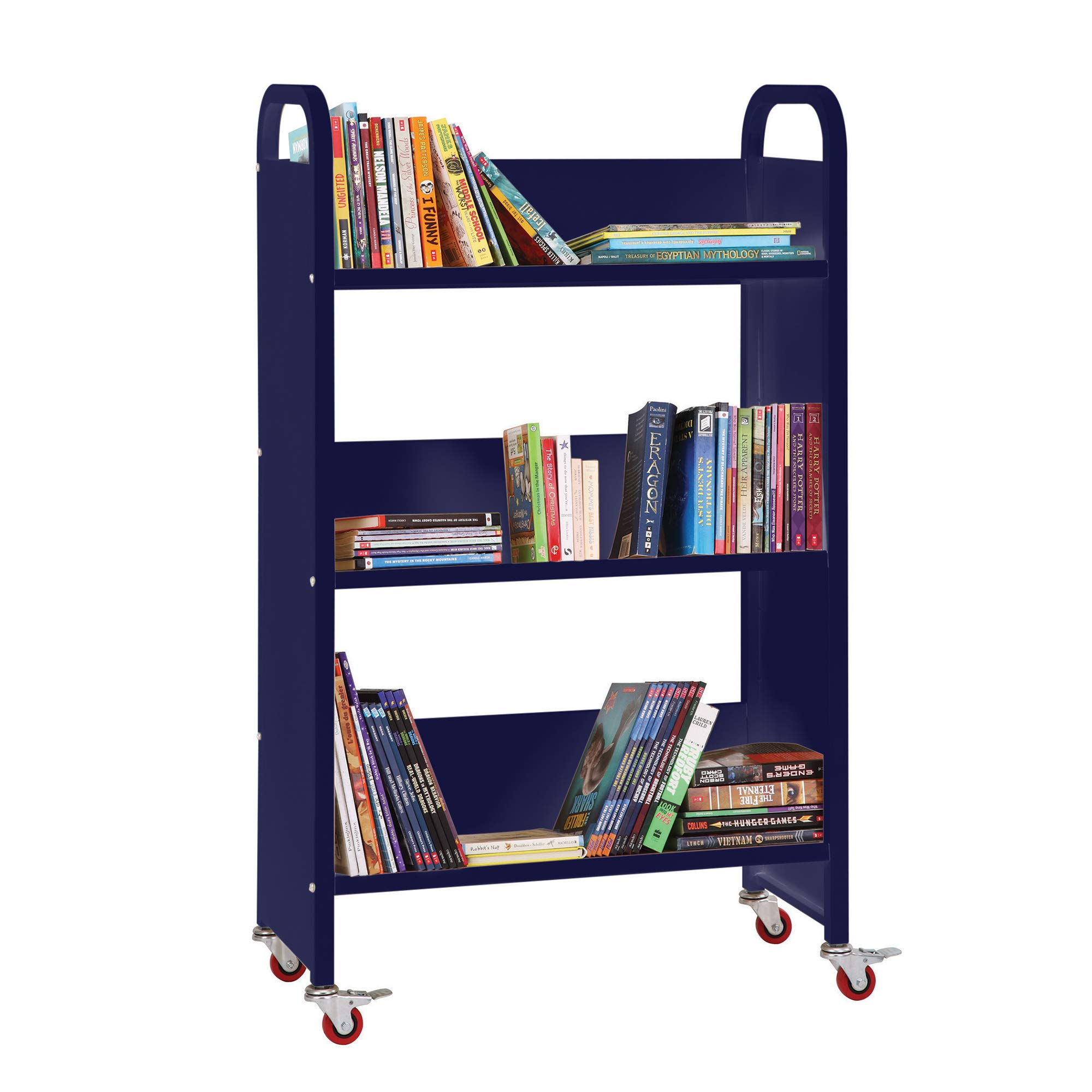 Guidecraft Heavy Duty Three-Shelf Narrow Book Truck - Dark Blue: Rolling Library Book Cart, School Furniture and Office Supply by Guidecraft (Image #2)