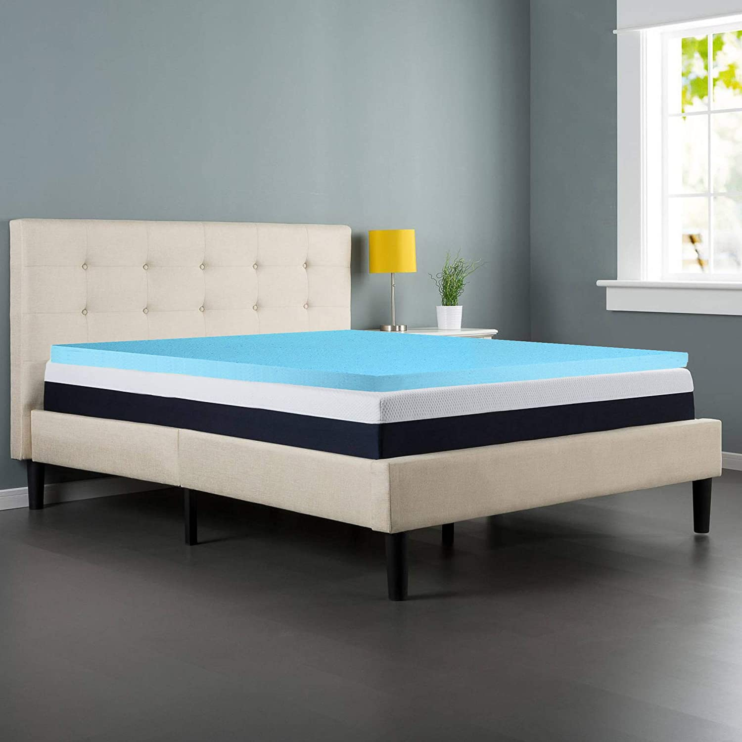 Spring Coil High Density Gel Foam Topper,Adds Comfort to Mattress, Full