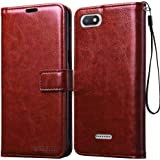 Bracevor Xiaomi Redmi 6A Flip Cover Case | Premium Leather | Inner TPU | Foldable Stand | Wallet Card Slots - Executive Brown