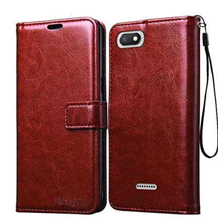 on sale 751de 5dfcd Bracevor Xiaomi Redmi 6A Flip Cover Case | Premium Leather | Inner TPU |  Foldable Stand | Wallet Card Slots - Executive Brown