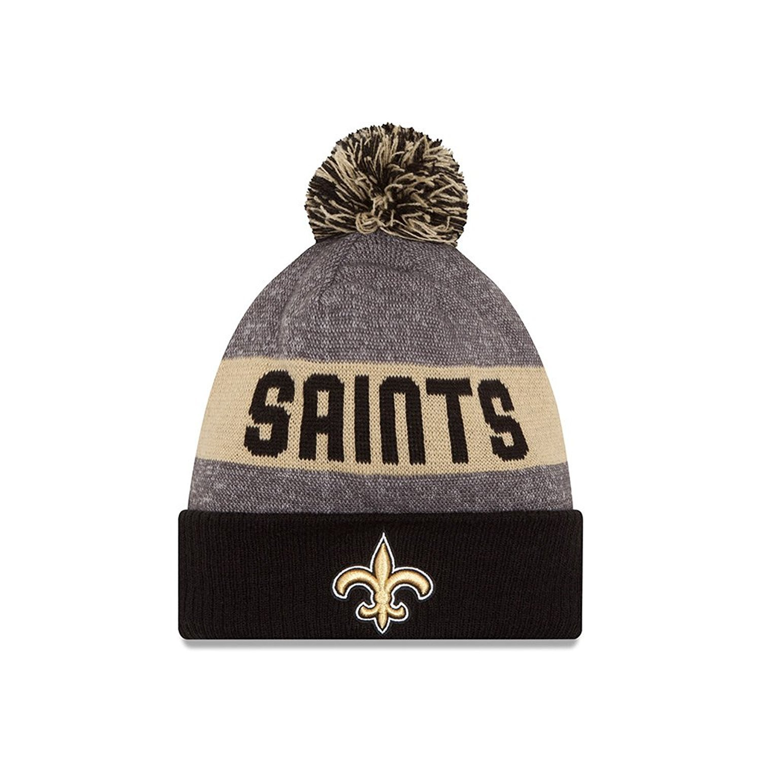 86951dcb9 New Era Knit New Orleans Saints Gold On Field Sideline Sport Knit Winter  Stocking Beanie Pom Hat Cap 2015