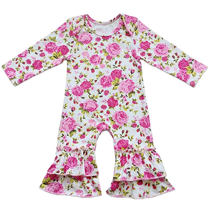 a5982632479e Amazon.com  Icing Ruffle Jumpsuit Pants for Toddler Baby Girls ...
