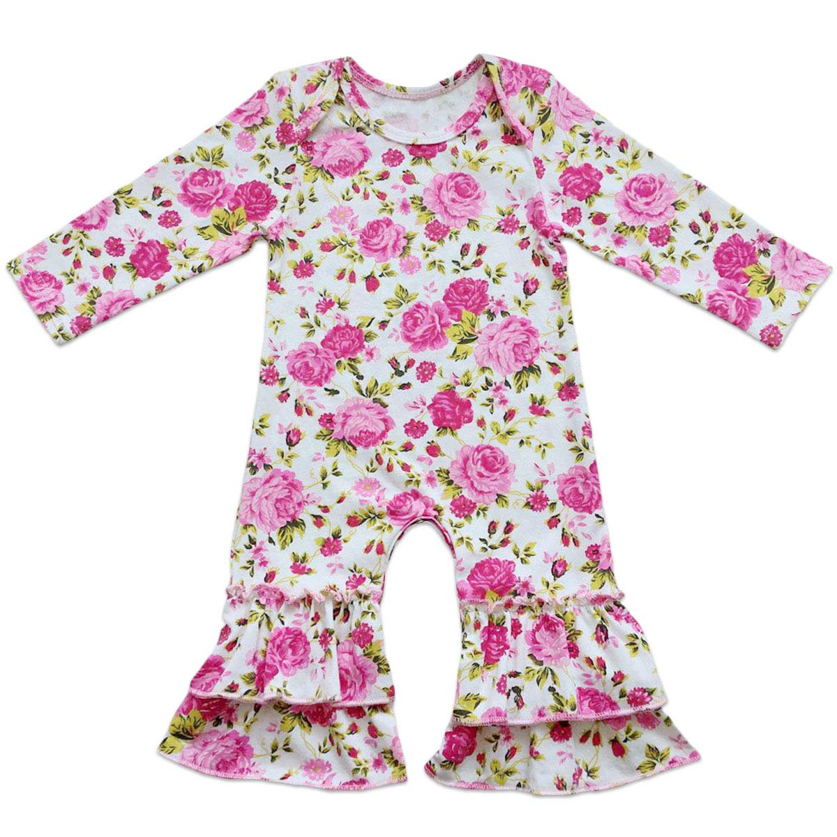 95d802b433b Amazon.com  Icing Ruffle Jumpsuit Pants for Toddler Baby Girls Valentines Romper  Long Sleeve Pajamas Nightwear Birthday Outfit 0-4T  Clothing