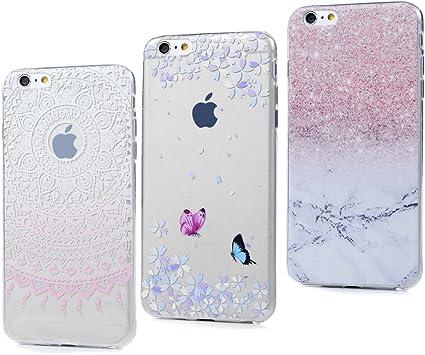 3x Cover iPhone 6S, iPhone 6 Custodia Silicone Ultra Sottile Antiscivolo Antiurto Slim Bumper Case per iPhone 6/6S - Marmo Totem Rosa Farfalla