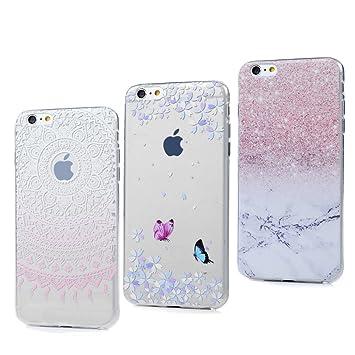 3x Funda iPhone 6, 6s Carcasa Silicona Gel Case Ultra Delgado TPU Goma Flexible Cover para iPhone 6/6s - Mármol + Totem Rosa + Mariposa