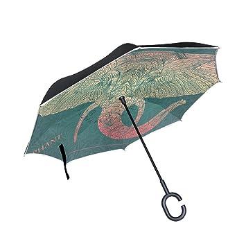 BENNIGIRY Paraguas de Doble Capa con Diseño étnico de Cabeza de Elefante Impreso en el Reverso
