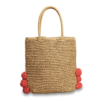 9c2df67c1bd2 Amazon.com : Hogoo Straw Tote Beach Bag for Womens Red Pom Poms ...
