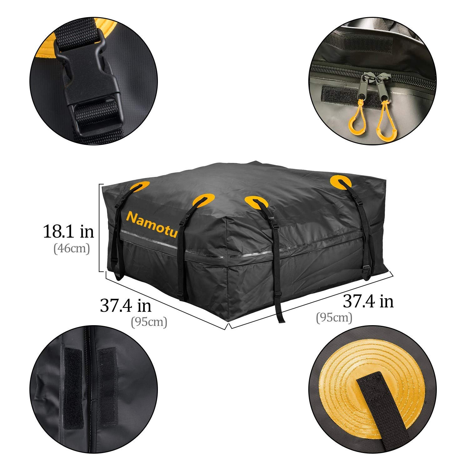 Upgraded Version Namotu Waterproof Rooftop Cargo Carrie Bag 15 Cubic Feet Roof Top Cargo Bag with 8 X 1ft Tie Straps Fits All Cars with Rack