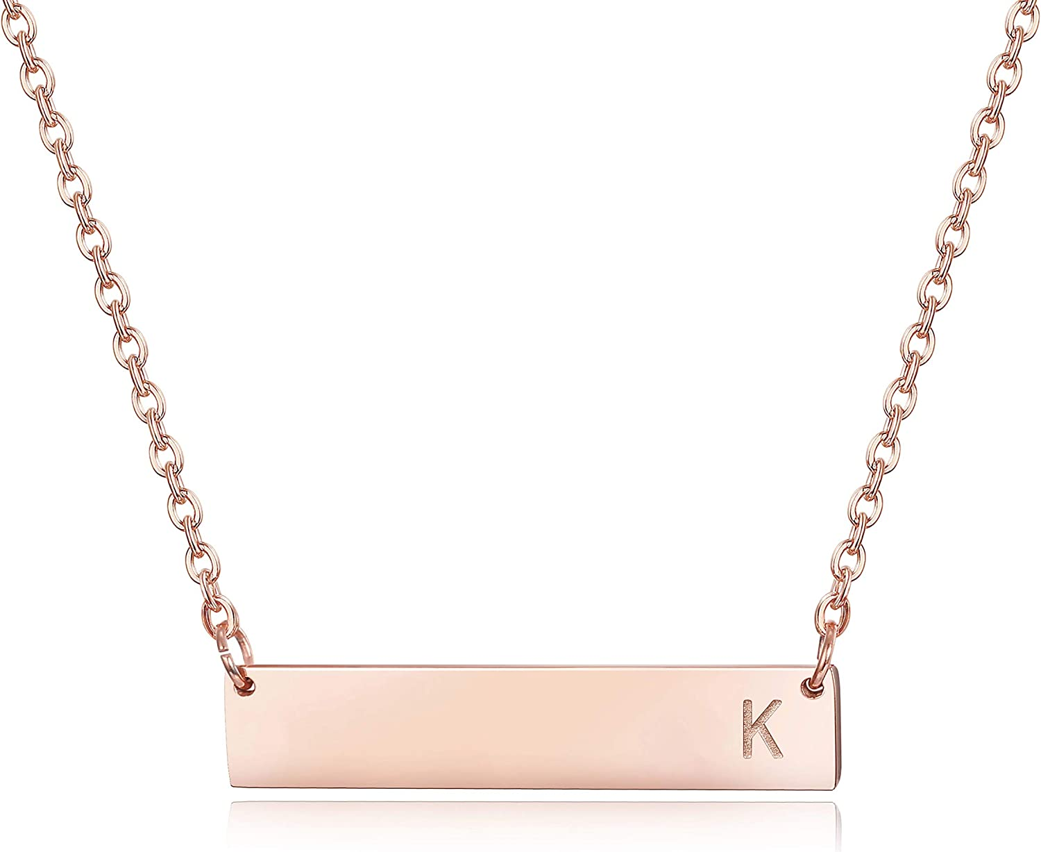 Sllaiss Rose Gold Initial Bar Necklace for Women Men 925 Sterling Silver Personalized A-Z Alphabet Charm Pendant Letter Necklace