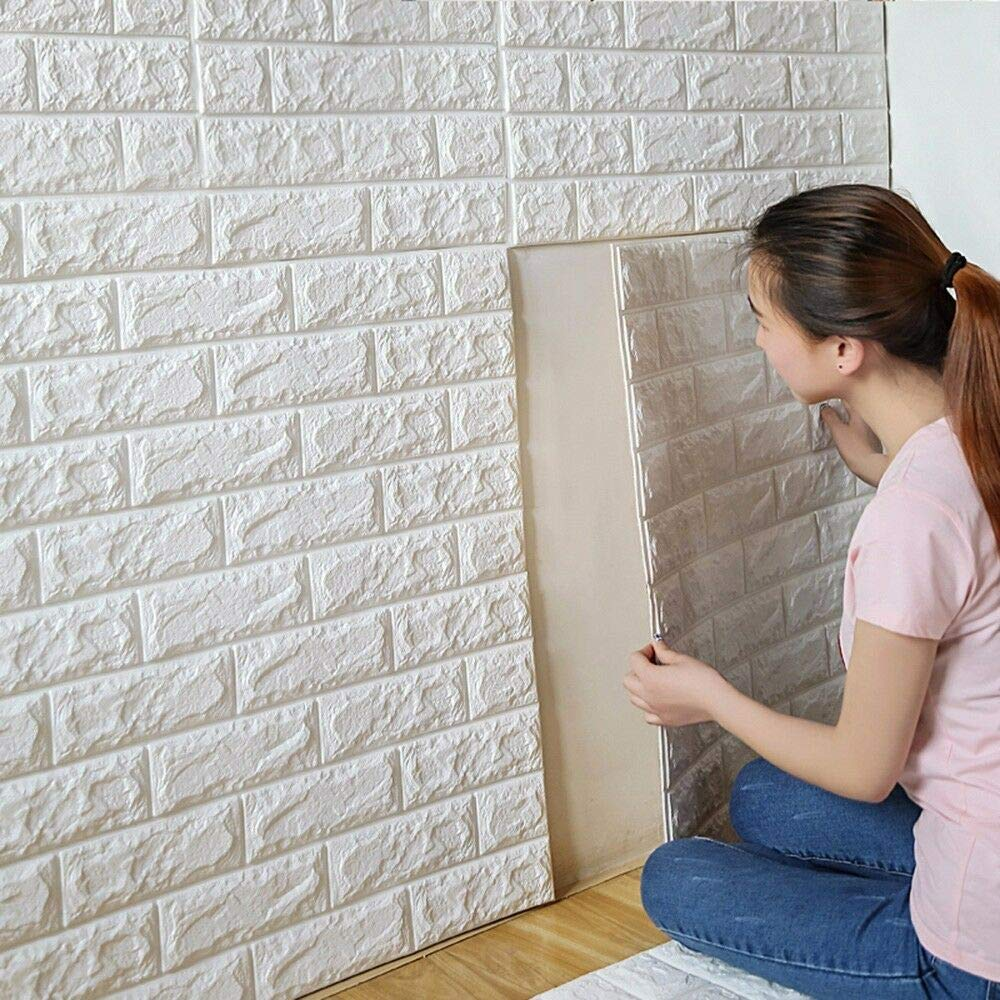 PrecisionDecor 3D Brick Wall Stickers Panel Self-Adhesive Peel and Stick White Faux Brick for Wall Decor 30X28INCH PER Piece(80 PC)
