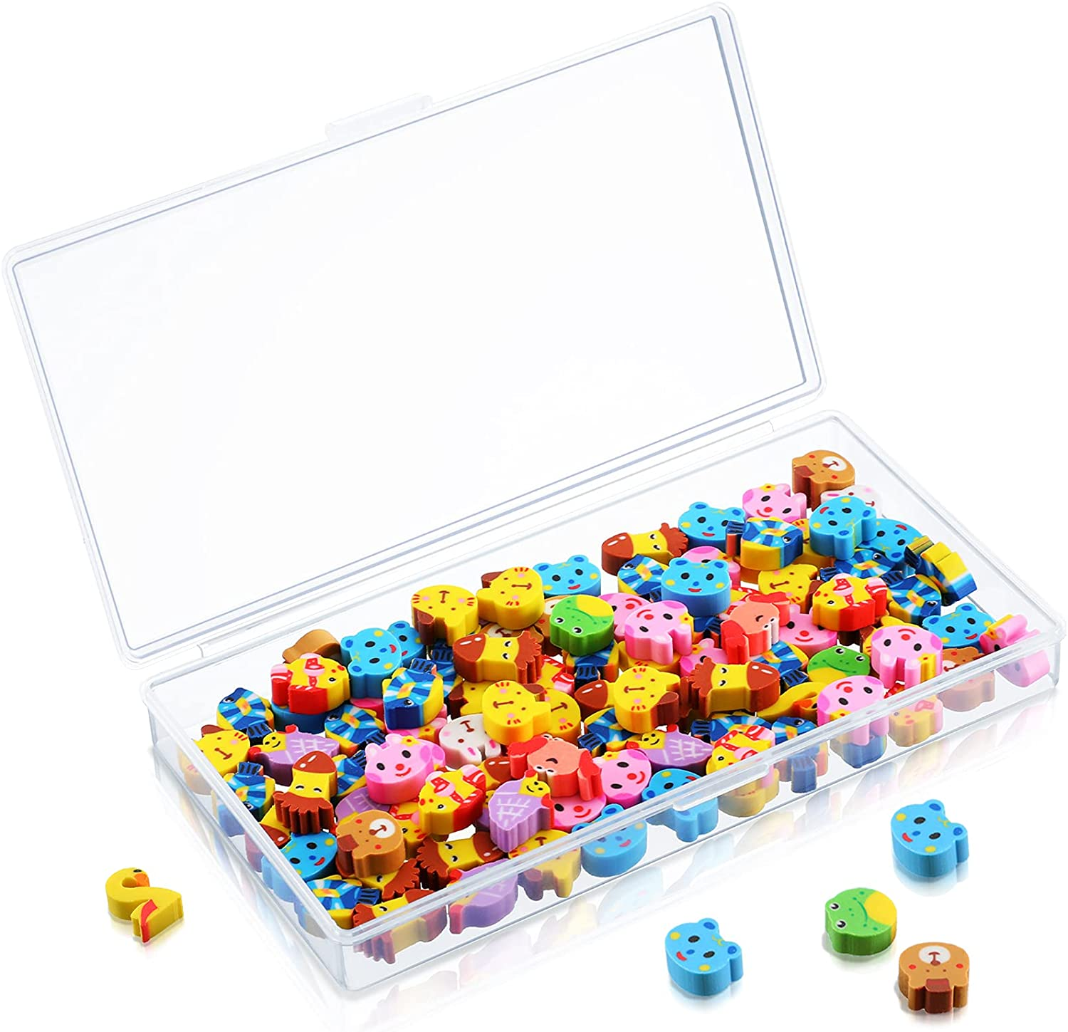 100 Pieces Mini Animal Pencil Erasers Animal Erasers Pack Mini Erasers Assortment Novelty Sea Animal Erasers Mini Pencil Erasers with Storage Box for Party Favor, Gift Filling, Home School Work Reward