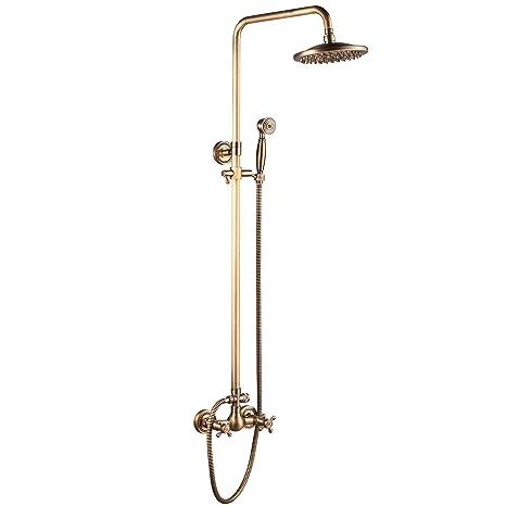 """Antique Brass 8/"""" Rainfall Bathroom Shower Faucet Set System Mixer Wall Mounted"""