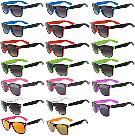 8cd00b6814 Amazon.com  20 Pieces Per Case Wholesale Lot Glasses. Assorted Colored  Frame Fashion Sunglasses.Bulk Sunglasses - Wholesale Bulk Party Glasses