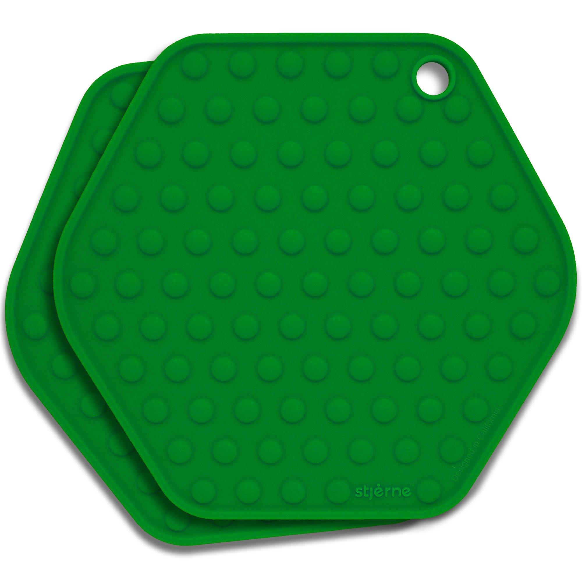 Stjerne Set of 2 Multipurpose Large Silicone Trivets, Mat, Multiple Spoon Rest, Jar Opener, Pot Holder, Coaster, 5-in-1, Heavy Duty & Flexible (Emerald)