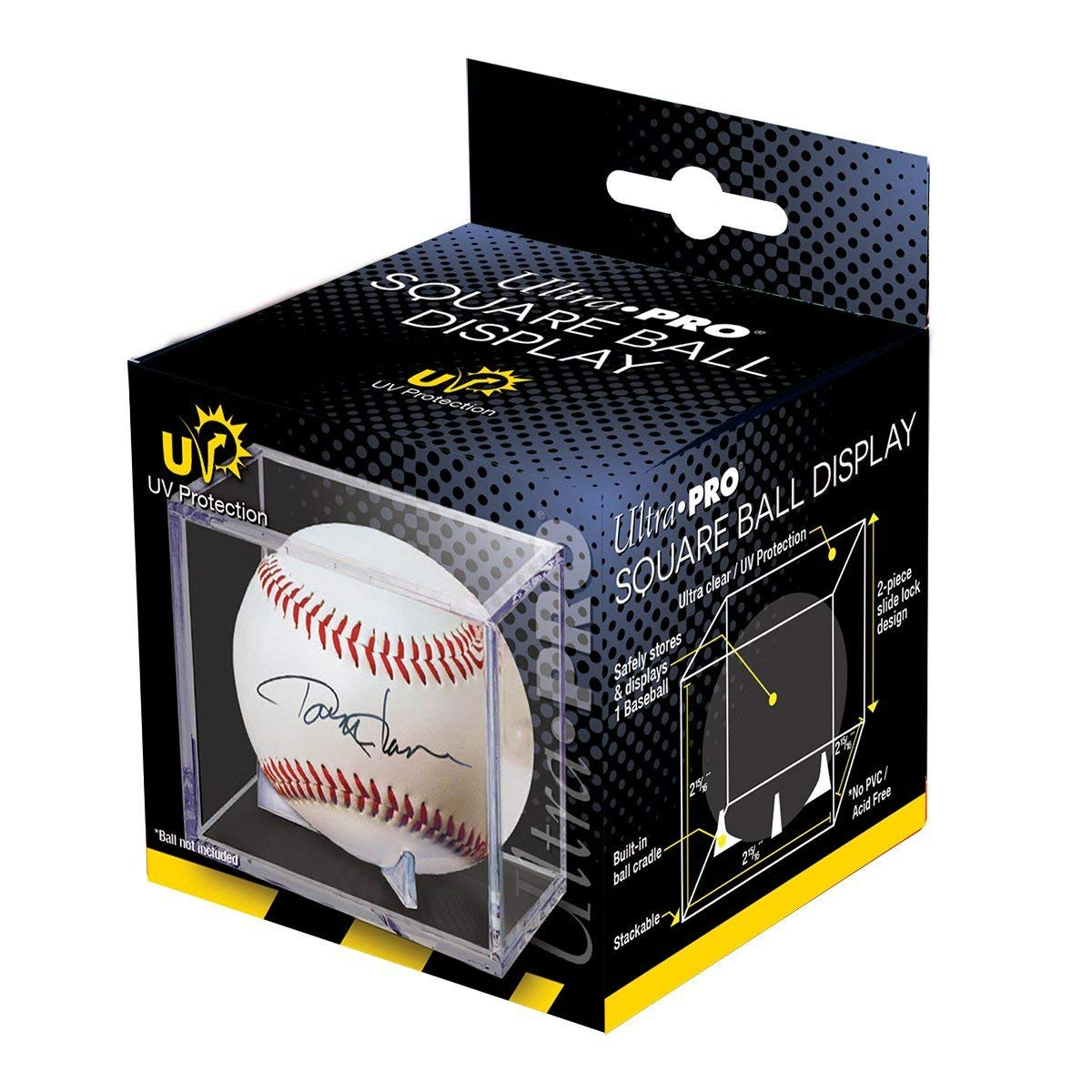 Ultra Pro Square Ball Display Box Ultra Clear with Built-In Ball Cradle and UV Protection (1-Unit)