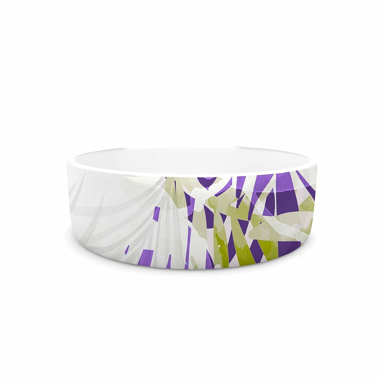 KESS InHouse Mmartabc Leaves Purple Olive Vector Pet Bowl, 7  Diameter