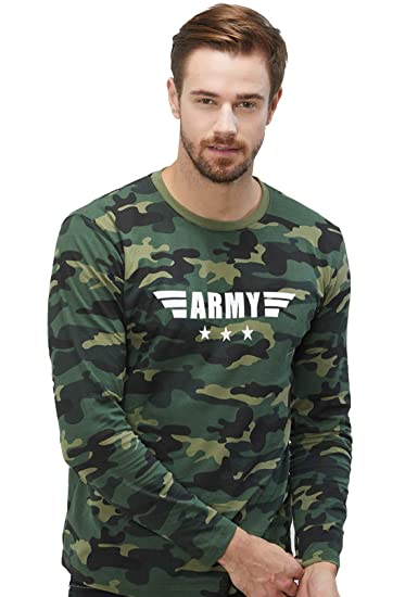 c7f5fbca WYO Wear Your Opinion Men's Camouflage Full Long Sleeve Cotton Round Neck Army  Printed T-