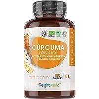 Cúrcuma Orgánica de 1520 mg con Jengibre y Pimienta Negra 180 Cápsulas Veganas - Cúrcuma en Cápsulas Natural Alta…