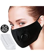 5 Pack Pollution Mask Military Grade Anti Dust and Smoke Mask with 50 Filters PM2.5 Dustproof Half Face Mask N99 Carbon Activated Washable Respirator Masks with Adjustable Straps Nose Bridge