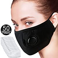 Asdomo 5 Pack Kids Pollution Mask Military Grade Anti Dust and Smoke Mask with 50 Filters PM2.5 Dustproof Half Face Mask N99 Carbon Activated Washable Respirator Masks with Adjustable Straps & Nose Bridge