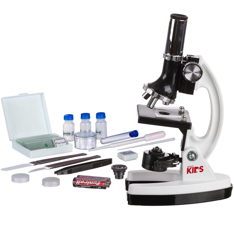 AmScope-Kids M30-ABS-KT1-W-I 120X-240X-300X-480X-600X-1200X 48pc Metal Arm & Base Educational Kids Biological Microscope Kit by AmScope (Image #2)